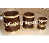 Wooden Planters with Brass Work